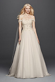 Oleg Cassini Off the Shoulder Tulle Wedding Dress CWG729