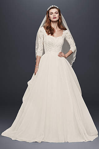 Long sleeve wedding dresses gowns davids bridal long ballgown romantic wedding dress oleg cassini junglespirit Choice Image