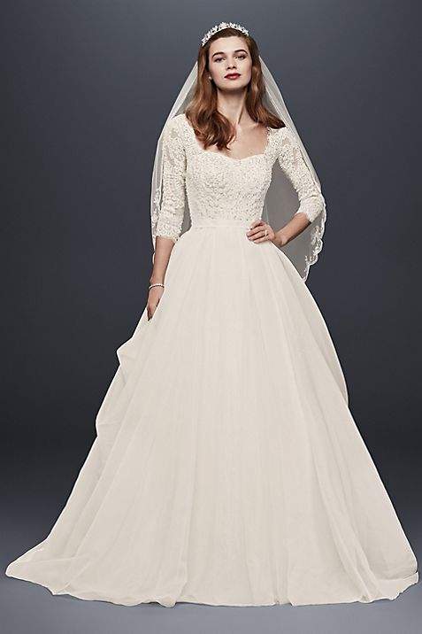 Petite Oleg Cassini Beaded Lace Wedding Dress   David\'s Bridal