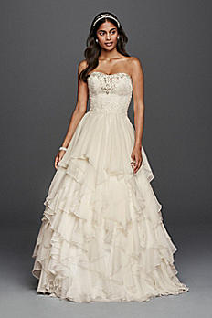 Oleg Cassini Ruffled Chiffon Wedding Dress CWG732