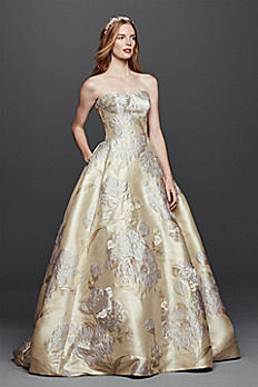 Oleg Cassini Brocade Wedding Dress with Pockets CWG734