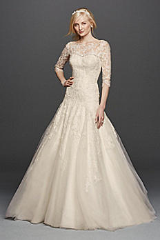 Oleg Cassini A-line Illusion Lace Wedding Dress CWG735