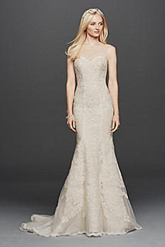 Oleg Cassini Sleeveless Lace Mermaid Wedding Dress CWG736