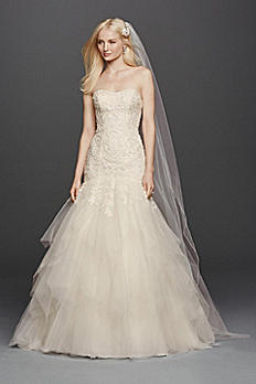 Oleg Cassini Strapless Mermaid Wedding Dress CWG737