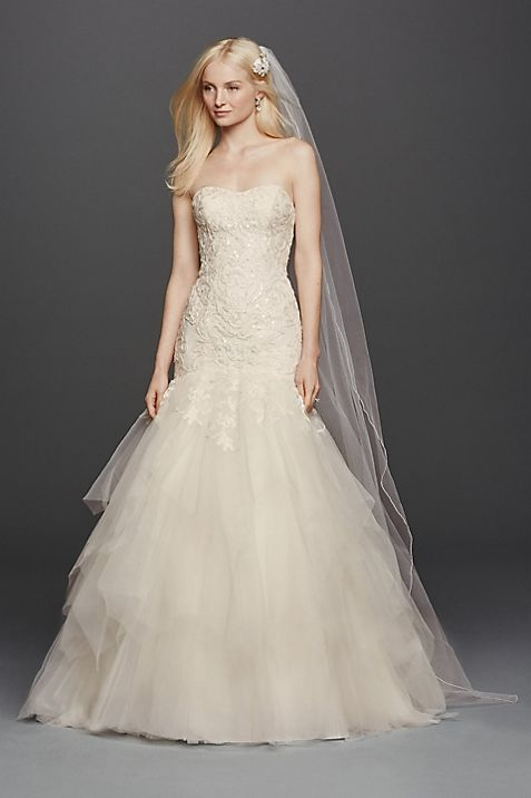 Oleg Cassini Strapless Mermaid Wedding Dress | David\'s Bridal