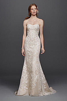 Oleg Cassini Strapless Lace Sheath Wedding Dress CWG738