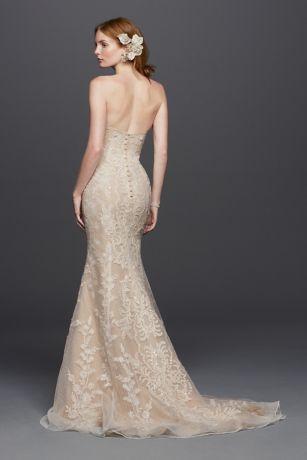 Oleg cassini strapless lace sheath wedding dress david 39 s for Oleg cassini champagne wedding dress