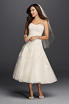 Oleg Cassini Tea Length Wedding Dress with Lace CWG743
