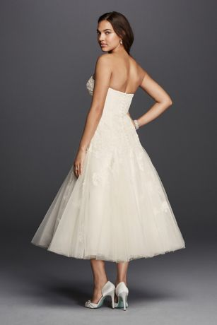 Oleg Cassini Tea Length Drop Waist Wedding Dress | David's ...
