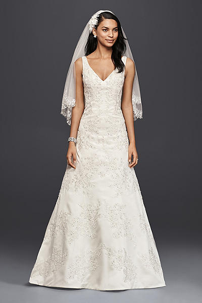 as is v neck lace a line wedding dress ai14010528