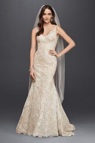 Oleg Cassini Lace Trumpet Wedding Dress CWG747