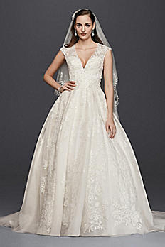 Oleg Cassini V-Neck Cap Sleeve Wedding Dress CWG748