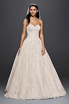 Oleg Cassini Wedding Ball Gown with Lace Appliques CWG749