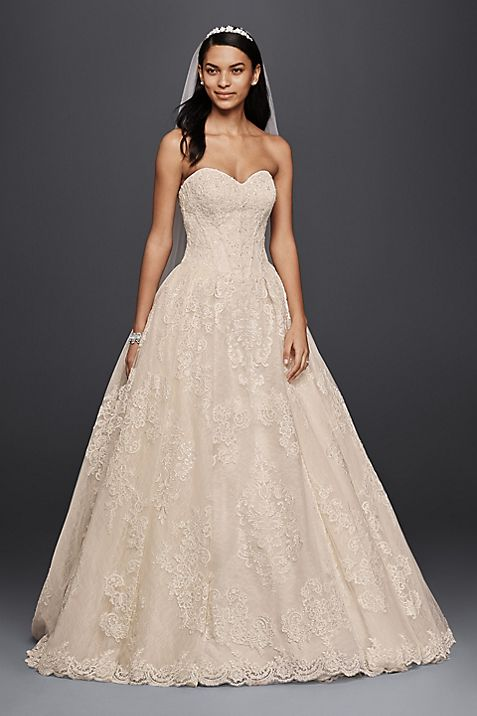 Oleg Cassini Wedding Ball Gown with Lace Appliques | David\'s Bridal