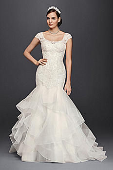 Oleg Cassini Lace Cap-Sleeve Trumpet Wedding Dress CWG750
