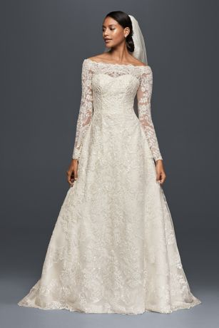 As is off the shoulder lace a line wedding dress david 39 s for Top of the line wedding dresses