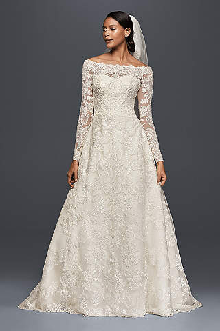 Lace wedding dresses gowns davids bridal long a line formal wedding dress oleg cassini junglespirit Gallery