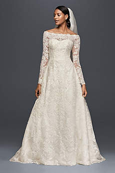 Long A-Line Long Sleeves Dress - Oleg Cassini