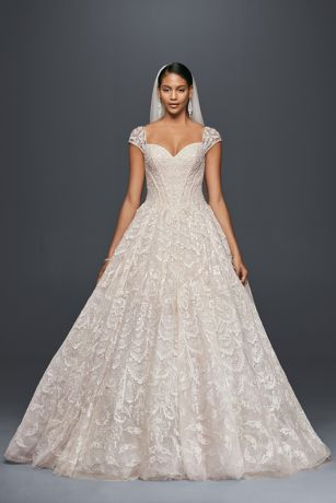 Grand lace ball gown with beaded cap sleeves david 39 s bridal for David s bridal princess wedding dresses