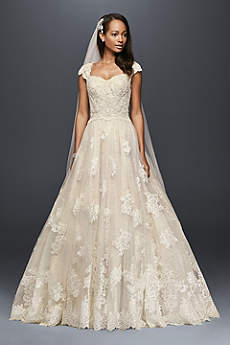 Long Ballgown Beach Wedding Dress - Oleg Cassini