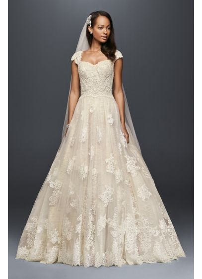 Cap Sleeve Lace Wedding Ball Gown With Beading Davids Bridal - Vintage Wedding Dresses