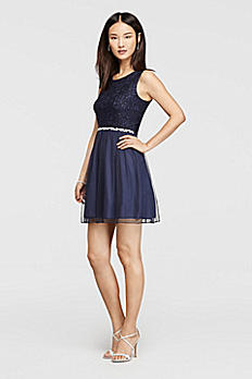 Glitter Lace and Tulle Short Dress D58913HVS