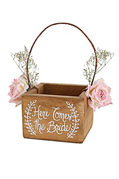 Here Comes The Bride Rustic Flower Girl Basket DB1001