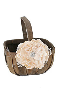Flower Girl Basket with Lace and Rhinestones DB1003