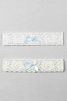Blue Bow and Pearl Vintage Lace Garter DB1025