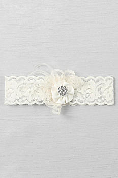 Ruffle and Rhinestone Cluster Vintage Lace Garter DB1028