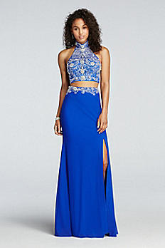 Two Piece Crystal Halter Prom Crop Top with Skirt DB25