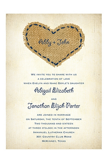 Burlap Heart Invitation Sample DB30664