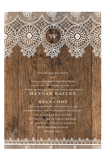 Barnwood and Lace Invitation Sample DB30685