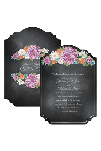 Chalkboard Garden Romance Invitation Sample DB31830