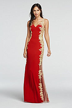 Sleeveless Illusion Jersey and Lace Prom Dress DB38