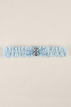 Blue Ruffled Lace Garter with Butterfly Brooch DB71060