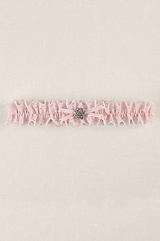 Pink Ruffled Lace Garter with Round Brooch DB71061