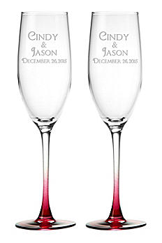 DB Excl Personalized Colored Stem Toasting Flutes DB7902CN6