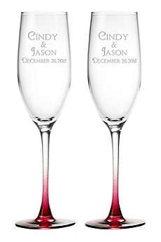DB Excl Personalized Colored Stem Toasting Flutes