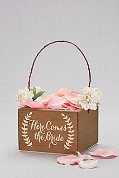Here Comes the Bride Wooden Flower Girl Basket DB9001