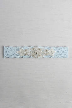 Stretch Lace Garter with Rhinestone Applique