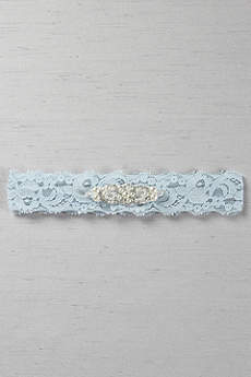 Stretch Lace Garter with Beaded Pearl Applique
