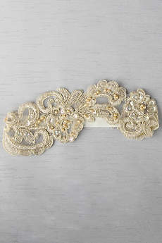 Ella Applique Garter With Gold and Ivory Details