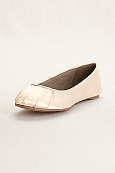 Pleated Toe Dyeable Satin Ballet Flat DBBALLET
