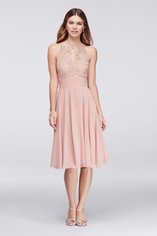 Lace Appliqued Illusion Short Bridesmaid Dress | David's Bridal
