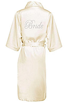Rhinestone Bride Long Satin Robe DBBRLNGRB