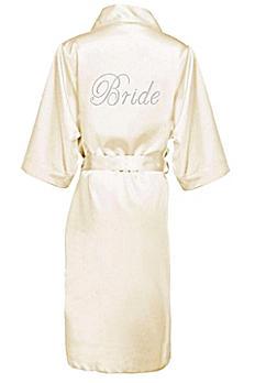 Rhinestone Bride Long Satin Robe DBBRLNGRB