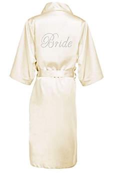 Rhinestone Bride Long Satin Robe