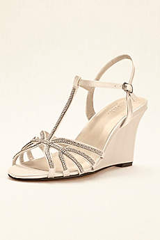 David's Bridal Black Sandals (Crystal T-Strap Satin Dyeable Wedge)