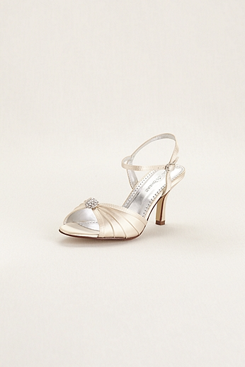 Satin Dyeable Pleated Sandal with Ornament DBECLAIRE